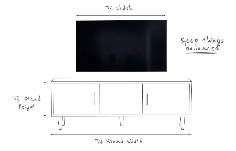 Sketch of a TV stand showing dimensions like width and height